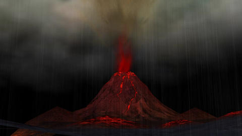 Animation of a Volcano Eruption CG動画素材