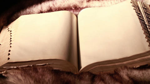 0379 Ancient Giant Book Sitting On Fur (with Blank stock footage