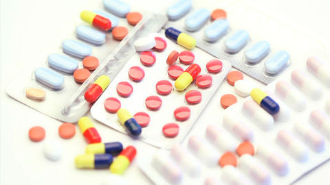 Pills Capsules And Tablets Turning stock footage