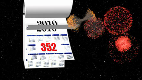 Loopable New Year 2010-2011 Calendar, Fireworks In Space stock footage