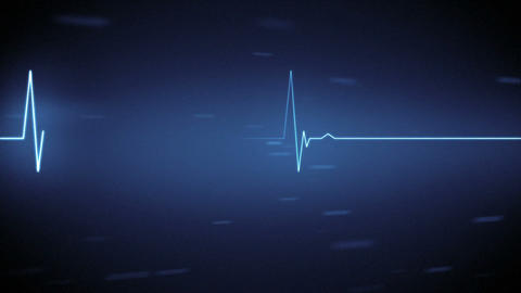 Blue Heart Monitor Line With Moving Background stock footage