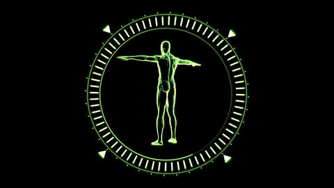Figure of man revolving in moving dial circle Footage