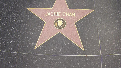 hollywood walk of fame star walking shot jackie ch Footage