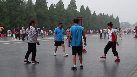 Morning Exercise In The Temple Of Heaven HD stock footage