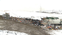 HD2008-12-8-5 Landfill Garbage Truck stock footage
