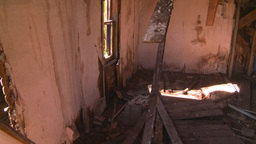 HD2008-7-16-47 Interior Abandoned Farm House stock footage
