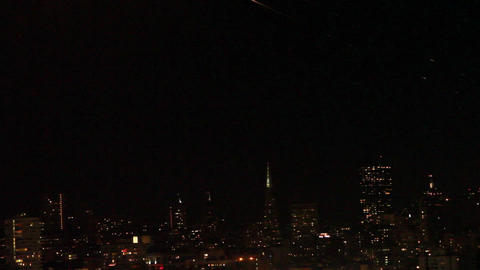 Rare- Shooting Star On San Francisco Skyline stock footage