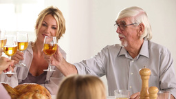 Family Toasting At Family Dinner stock footage