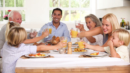 Family Raising Their Glasses At Family Dinner stock footage