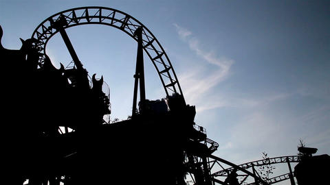 Moving Roller Coaster Ride View Dark Afternoon stock footage