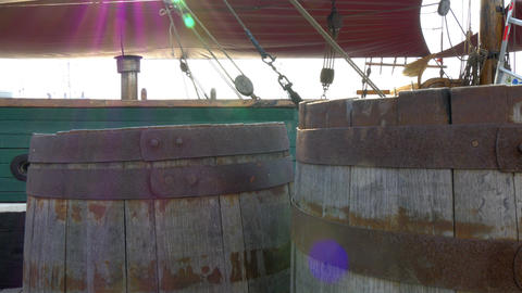 Two Old Barrels Inside The Galleon Ship GH4 4K UHD stock footage