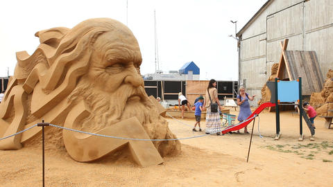 Sand Sculpture Depicting A Head From The Nordic My stock footage