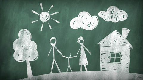 Family. Drawing On A Blackboard stock footage