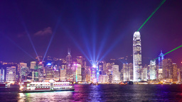 4k timelapse video of Symphony of Light in Hong Ko Footage