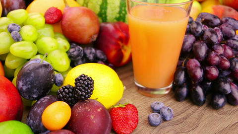 Fruits And Berries And Juice stock footage