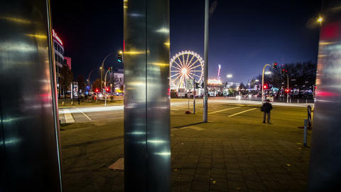 Funfair Timelapse In The Night - DSLR Dolly Shot stock footage