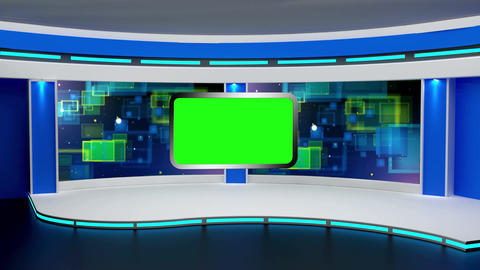 Education TV Studio Set 01 Virtual Green Screen Ba stock footage