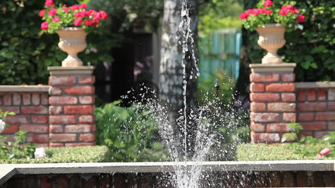 Fountain In The Rose Garden stock footage