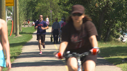 HD2009-7-8-14 Bike Walk Path People stock footage