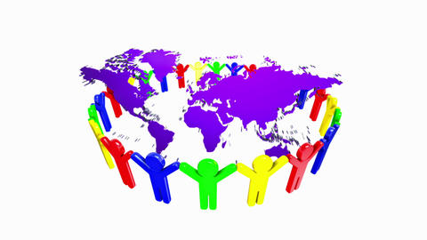 People Holding Hands Around The World Map 3d stock footage