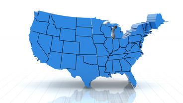 3d Animation Of USA Map, Loop With Alpha Matte For stock footage
