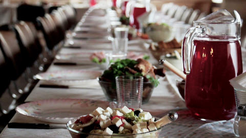 Delicious Food Set Up In The Table stock footage