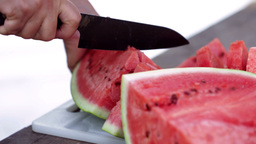 Cutting Watermelon Close Up stock footage