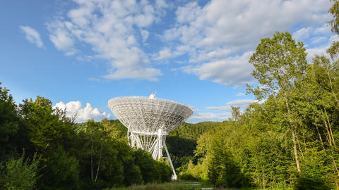 4k UHD Huge Radio Telescope Wide Zoom Time 11492 stock footage