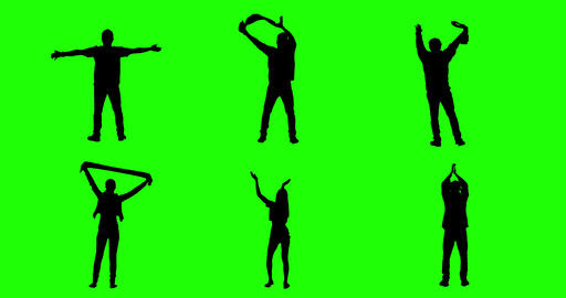 Cheering Fans On Green Screen. Silhouettes stock footage