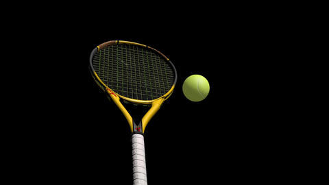 3D Tennis Racket And Tennis Balls stock footage