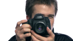 Close Up Man Photographing On Professional Camera Footage