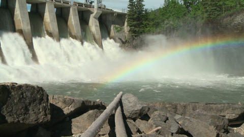 Hydro Dam with Rainbow zoom out Footage
