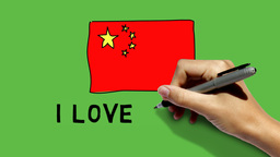 Hand Paints China Flag And Scribbles I LOVE CHINA  stock footage