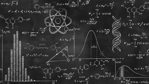 writing scientific formulas on black chalkboard Animation