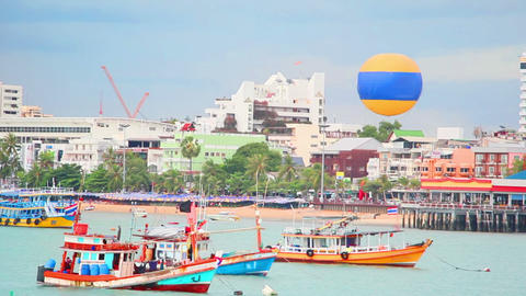 Ships On Pier In Pattaya City, Thailand stock footage