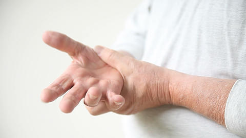 Man With Thumb Pain stock footage