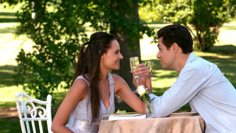 Couple Having A Romantic Meal Together Outside stock footage