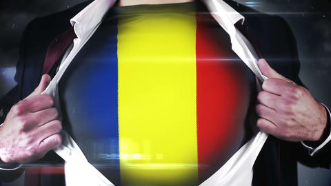 Businessman opening shirt to reveal romania flag Footage