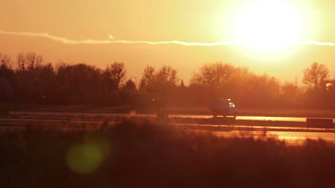 Security Car At Sunset Airport HD stock footage