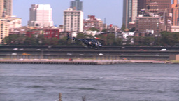 NYC Ferry Term Heli Take Off stock footage