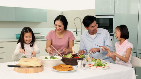 Happy Family Having Dinner Together stock footage