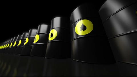 4K. A Group Of Black New Oil Barrels. Loopable stock footage
