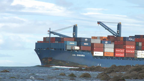 Container Ship Enters Harbor stock footage