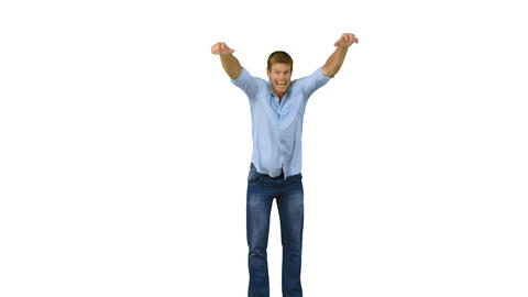 Man Jumping To Show His Triumph On White Backgroun stock footage