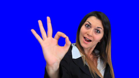 blue screen beautiful business woman concept sign perfect excellent great Footage