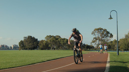 People Exercising Along a Perth Bike Path Footage