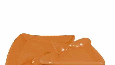 Liquid Milky Chocolate Flow Over White Background stock footage