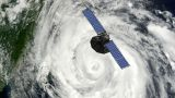 Satellite Floating Above Hurricane stock footage
