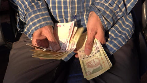 Counting Indian Currency stock footage
