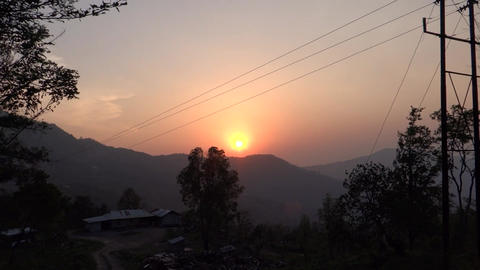 A Sunset View In A Rural Hilly Region At North-eas stock footage